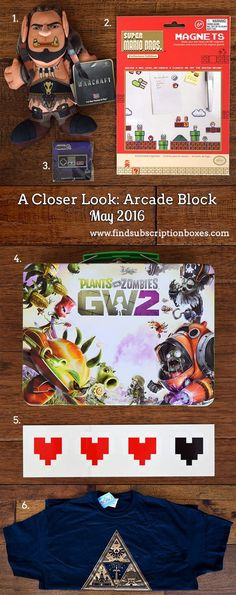 The May Arcade Block revealed! Check out last month's video game collectibles - Warcraft, Plants vs. Zombies, Super Mario Bros. & more! http://www.findsubscriptionboxes.com/a-closer-look/may-2016-arcade-block-review/?utm_campaign=coschedule&utm_source=pinterest&utm_medium=Find%20Subscription%20Boxes&utm_content=May%202016%20Arcade%20Block%20Review%20%2B%20Giveaway  #arcadeblock