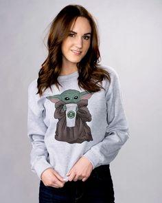 Baby Yoda Bucks Sweatshirt - Funny Pop Culture Movie Graphic Crewneck - Femfetti Funny Sweatshirts, Birthday List, Crew Neck Sweatshirt, Pop Culture, Unisex, Tees, Baby, Cotton, Yoga