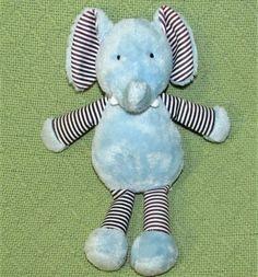 NUBY SECURITY BLANKET BLUE ELEPHANT LARGE WHITE EARS VELOUR SUPER SOFT SIGNATURE