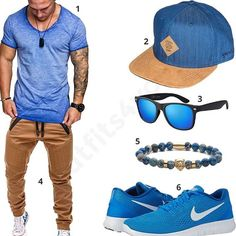 Lässiges Herren-Outfit mit blauem Amaci&Sons Shirt, Djinns Cap, La Optica Sonnenbrille, Betterstylz Hose, Obelizk Armband und Nike Schuhen.