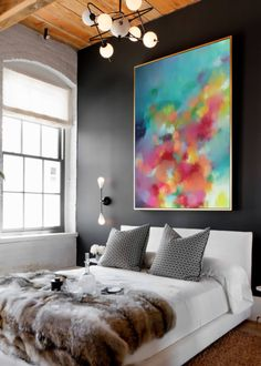Abstract painting print ABSTRACT large Pink painting