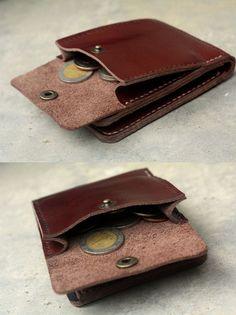 Cartera de cuero marrón arcilla con moneda mini por SakatanLeather