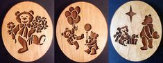 """Each one of these adorable bears is sold separately.  Please choose 1 or all three.  There will be a $5 discount if you order all three together.  Each is 9""""x10.25"""".  If yo... #etsy #unique #custom #gift #laser #children #wood #scroll #oak #birch #easter"""