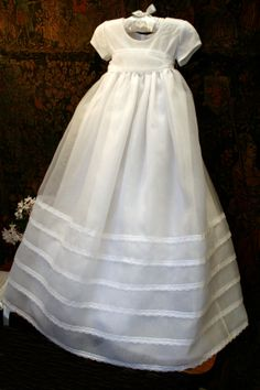"A ""D e l i c a t e"" organza and lace #Christening Gown from Isabel Garretón"