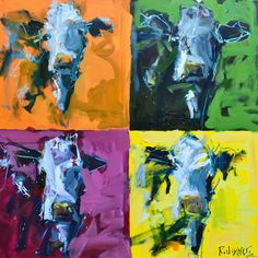 Large Warhol style cow painting featuring a lively palette and the carefree brushwork artist Robert Joyner is well known for. A perfect focal point for any home or office.