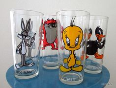 "Set of 4 1970's Collectible Pepsi Looney Toons Beverage Glasses - We always faught over who got to drink their ""bunny milk"" (milk with strawberry Quik) out of the Bugs Bunny glass!  <3"