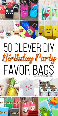 50 DIY Birthday Party Favor Gift Bags - Smart Party Ideas - Thank your guests with personalized DIY party favor gift bags. Super cute and easy to make these loot bags are a perfect way to wrap up your birthday bash! Diy Birthday Party Favor Bags, Diy Party Bags, Birthday Party Games For Kids, Kid Party Favors, Party Gifts, Birthday Bash, Party Ideas, Rainbow Birthday, Birthday Ideas