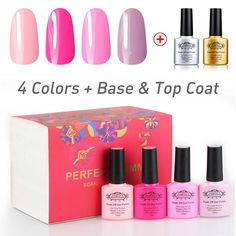 Perfect Summer Soak Off UV LED Soak Off, Well Selected Colors with Clear Base and Top Coat Set - 6 bottles, 10ml Each (Starter Kit no.02) *** Unbelievable  item right here! : wedding Makeup