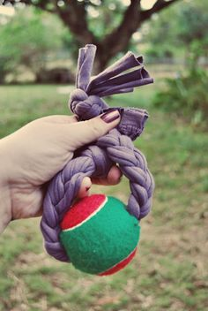 DIY dog toy with braid and tennis ball