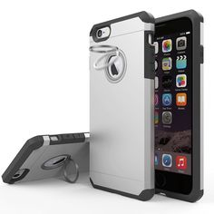 iPhone 6s Case, JEMACHE Silicone Shock Absorber Corner Heavy Duty Drop Proof Solid Armor Silver Case for iPhone 6/6s (4.7 inch) with Ring Kickstand. Exclusive custom-level Exterior: Simple remarkable aesthetic exterior design made from premium anti-stretch TPU + durable Germany Bayer polycarbonate, exclusive appearance patent product. New Experience:360 degree-rotating zinc alloy finger ring kickstand provides you with multiple viewing angles for watching video and pictures. And it can be…