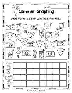 Summer Graphing Worksheets and activities for preschool, kindergarten and 1st grade kids perfect for morning work and math centers. These worksheets are no prep and will help teachers save time during the school year. Math pages is a no prep packet packed full of worksheets and printables to help reinforce math skills in a fun way. #summer#math #worksheets #kindergarten