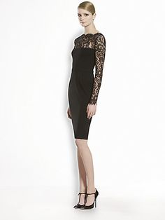 Gucci Stretch Jersey & Flower Lace Dress- Floral lace yoke and sleeves