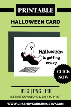 Everyone to party during halloween this crazy card printable is available in my etsy shop. easy to download, print and fold it into two equal halves. Open for personalization and customization.  Boo ghost white and black, sexy ghost, Funny ghost card, card for him, card for her, pun gifts, Funny Halloween Card, Halloween Cards for Kids Children, Cute Ghost Halloween Greetings Card, gothic greeting, cute horror card, cute ghost card  #halloween #ghost #boo #card #greeting #etsy #printable #sale Student Planner Printable, Printable Cards, Printables, Funny Halloween, Halloween Cards, Calligraphy Lessons, Pun Gifts, Funny Ghost, Boo Ghost