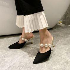 [leggycozy] Korean Luxury Elegant Big Pearl Decoration High Heels Mule High Heel Mule Shoes, Mules Shoes, Heeled Mules, High Heels, Pearl Decorations, Kawaii Shoes, Types Of Shoes, Pearls, Elegant