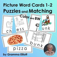 Picture Word Matching Cards for Puzzles, Flash Cards, and Games First and Second Cvce Words, R Words, Rhyming Words, Autism Education, Special Education, Elementary Education, Cooperative Learning, Student Learning, Teaching Phonics