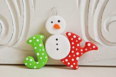 Snowman Joy Ornament by MELANIE | Polymer Clay Planet