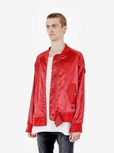 Profound Aesthetic Babylonian Deluxe Satin Jacket in Cardinal Red. Flight Through the Gardens Spring Summer 2016 Collection. http://profoundco.com