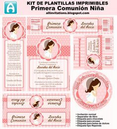 So sweet Free Printable Mini Kit for a Girl First Communion. For making First Communion Invitations, First Communion Decoration, . First Communion Decorations, First Communion Favors, First Communion Invitations, First Holy Communion, Ideas Para Fiestas, Mood, Cute Girls, Free Printables, Clip Art