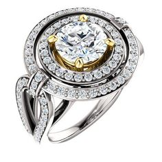 2.0 Ct Diamond Engagement Ring 14kt Two-tone 8mm