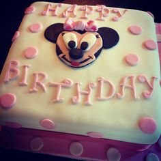 Minnie Mouse birthday cake Sponge cake with butter icing and jam