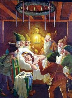 old German illustration Snow White and the Seven Dwarfs