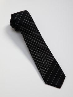 Linen Grid Pattern Necktie: Alexander Olch. $69