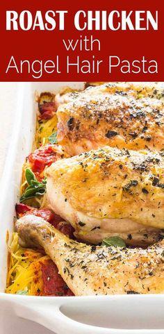 Roast Chicken with Angel Hair Pasta
