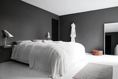 my scandinavian home: A serene Norwegian space in monochrome and nudes. Grey white bedroom
