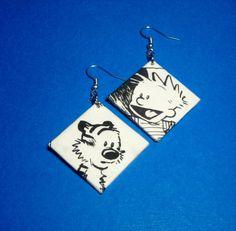 Calvin and hobbs comic earrings!