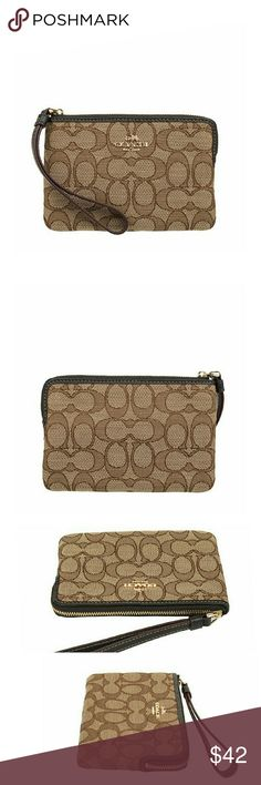 "COACH signature corner zip wristlet Coach renowned quality mataerials and style, popular small wristlet. Coach logo C jacquard is durable. Gold tone metallic parts and wrist strap on zipper top closure. Fabric lining inside 2 slip pockets.   Size: 6 1/4"" (L) x 4"" (H )    I also have a matching tote bag Check my closet to see!!    * REASONABLE offers are WELCOME!!  *Check out my other listings to bundle and save 10%!! Coach Bags Clutches & Wristlets"