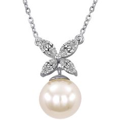 Majorica 8MM  Pearl, Cubic Zirconia and Sterling Silver Butterfly... ($100) ❤ liked on Polyvore featuring jewelry, necklaces, white, cubic zirconia necklaces, sterling silver cz necklace, cz necklace, sterling silver jewelry en sparkly necklace
