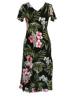 7d615a0f334 FREE SHIPPING from Hawaii - Nalani Long Rayon Hawaiian Dresses Maxi V-Neck Tea  Length