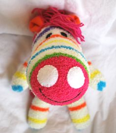 Sock Animal Zebra Plushie Softie 15 Long Made by TheCharmingDoll, $18.00