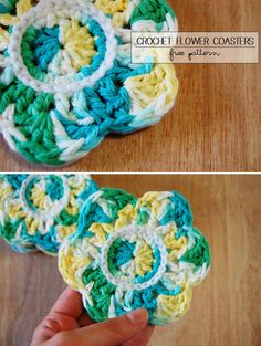 mon makes things: Crochet Flower Coasters with Felt Backing