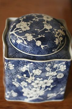 English Blue and White Cherry Blossom Tin. $8