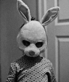 Time for another installment of creepy rabbit pictures, Christine! Animal Masks, Animal Heads, Phineas Et Ferb, Bunny Mask, Creepy Vintage, Creepy Photos, Arte Horror, Catwoman, Macabre