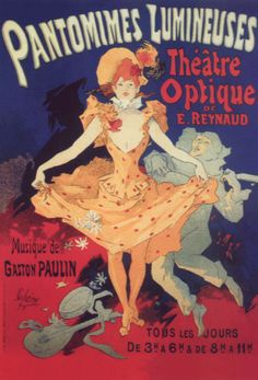 Affichekaart: Musee Grevin. Pantomimes Lumineuses. design: Jules Cheret . Postcard
