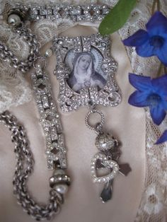 Sacred Heart antique paste Madonna assemblage necklace on Etsy, $92.00