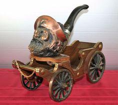 Vtg Pipe Set Holder Viking Pirate Wagon Gold Star Smoking Art Cigarette Cigar