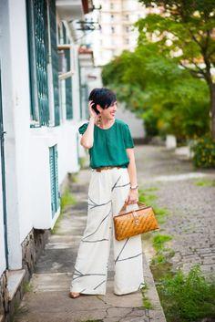 Pantalona de linho e parcos tons de verde - HojeVouAssimOff.com.br