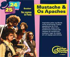 Programação Bourbon Festival Paraty  Mustache e os Apaches 24 e 25 de maio - Nas Esquinas de Paraty   #PousadaDoCareca #Paraty #BourbonFestivalParaty #Jazz #Blues #Soul #música #cultura #turismo #Mustache #OsApaches