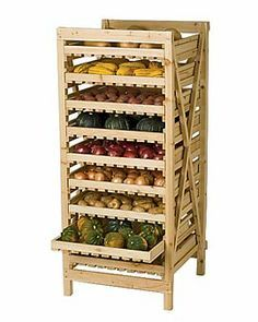 Large Orchard Rack – Vegetable Storage – Wood Storage Rack I can think of a lot of uses for this, storage for my candles, supplies, soap curing etc. Vegetable Storage Rack, Wood Storage Rack, Kitchen Storage, Food Storage, Wine Storage, Storage Baskets, Home Design, Produce Displays, Root Veggies