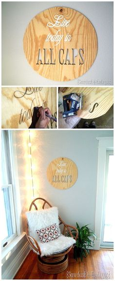 """""""Live Life in ALL CAPS"""" DIY Plywood Artwork - Easy Step by Step Do it Yourself Woodworking Art Project to create fun home decor using your favorite sayings and quotes!  These make fantastic gifts too.  {Reality Daydream}"""