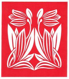cut paper design Art Nouveau Tulip Stencil