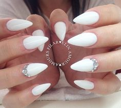 white almond acrylics with crystals