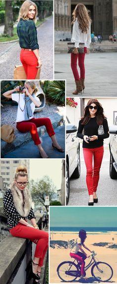 Red pants with diamond print sweater and ankle strap heels. Would also be cute with black/white polka dots or printed flower sweater.