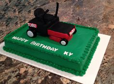 Lawnmower cake - Great idea for those who love the yard and especially their Toro zero turn mower.