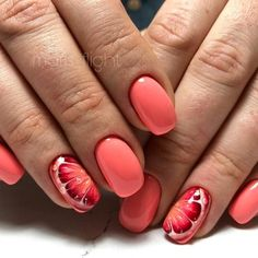 Get your manicure on trend with this hue. Check out some of our favorite peach and coral nail designs! Fruit Nail Designs, Colorful Nail Designs, Nail Designs Spring, Nail Art Designs, Pedicure Nails, Gel Nails, Toenails, Spring Nail Art, Spring Nails