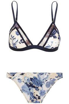 Floral Print Triangle Bikini Set BLUE: Bikinis | ZAFUL