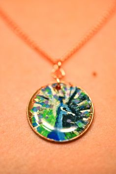Hand Painted Peacock Penny Necklace by LaurenxJoy on Etsy, $22.00